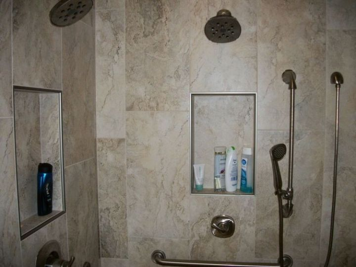 Dual Shower Head Rectangle Tile Shower • N Koehn Tile • El Campo, TX