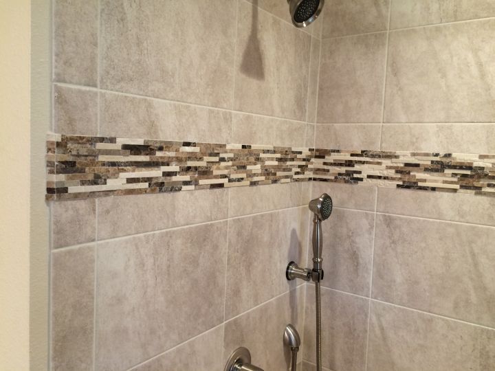 Neutral Tile and Stone Accent on Tile Tub Surround • N Koehn Tile ...
