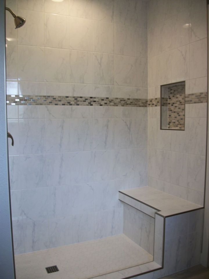 white ceramic tile shower with accent band and nickel metal edgingwhite ceramic tile shower with accent band and nickel metal edging
