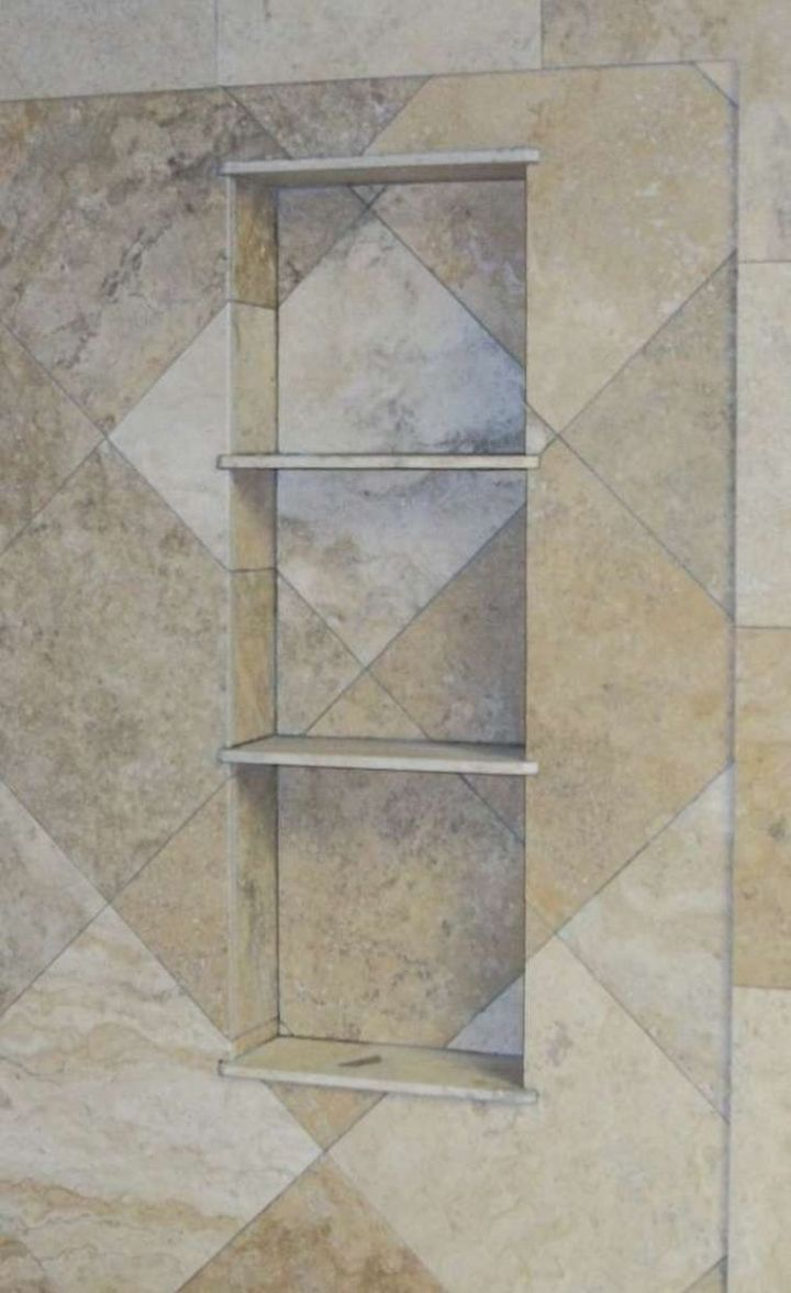 Diagonal Travertine Tile Shower N Koehn Tile El Campo Tx