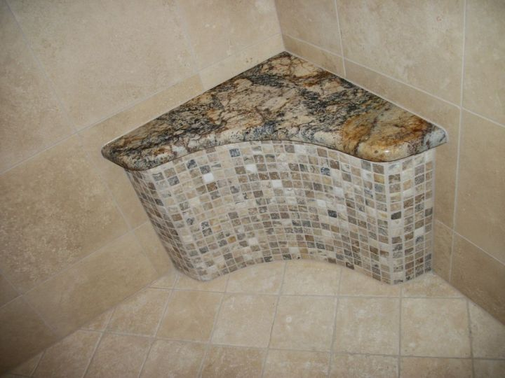 Granite Seat Top And Onyx Mosaic Arched Seat In Tile Shower