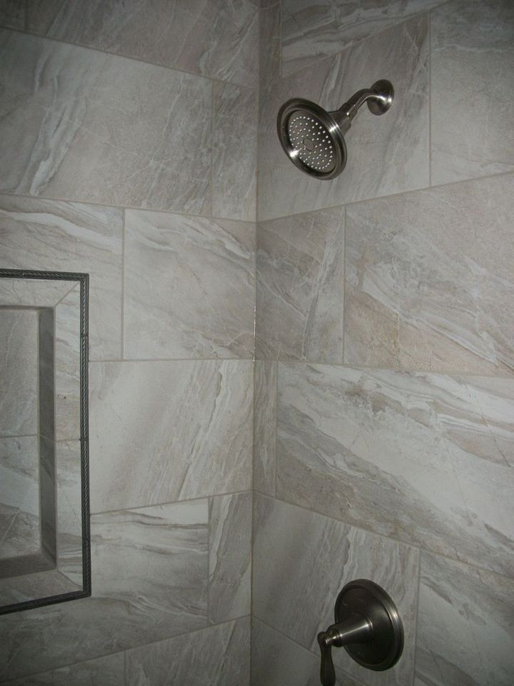 Gray Rectangle Tile Shower N Koehn Tile El Campo Tx