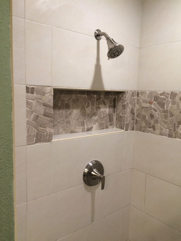 Linen Rectangle Tile Shower With Stone Accent N Koehn