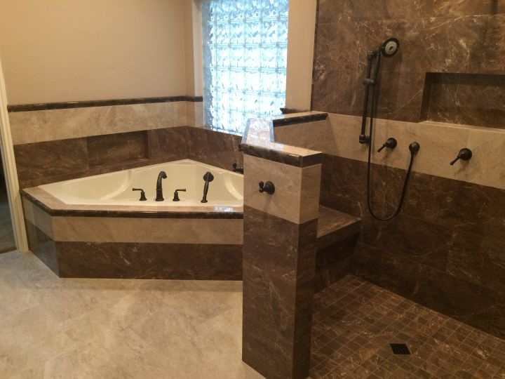 Emperador Marble Tile Shower and Tub Surround • N Koehn Tile • El ...