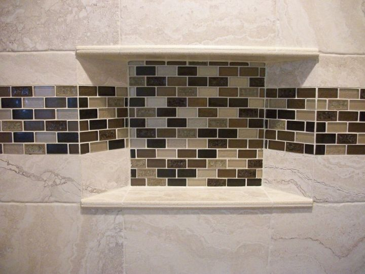Recessed Tile Niche With Mitered Edge And Gl Subway Mosaic Back Accent Band