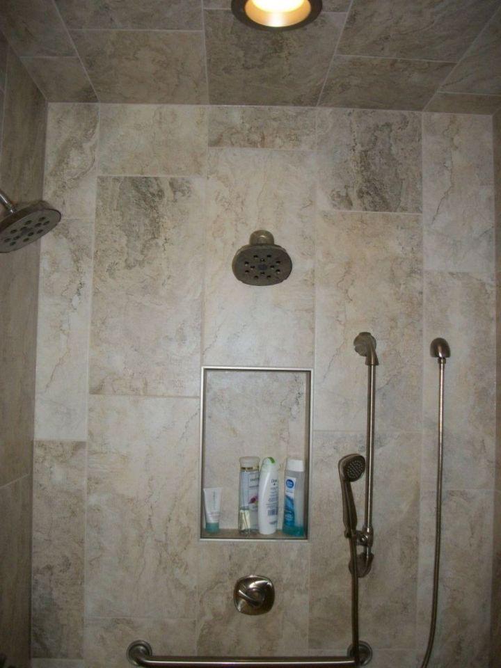 Random Pattern Rectangle Tile Wraps Onto Shower Ceiling