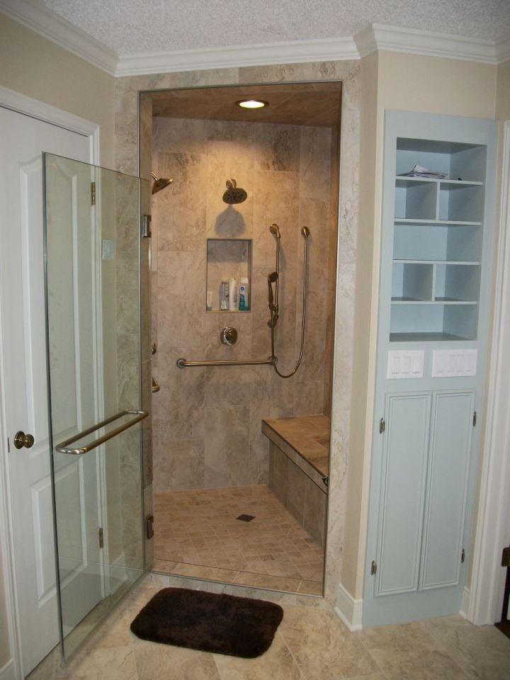 dual shower heads and hand shower with rectangle tile
