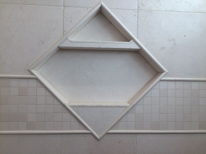 Dual shelf diamond inset tile niche