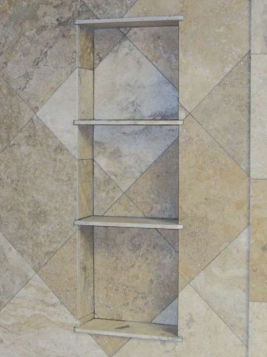Triple shelf recessed tile niche