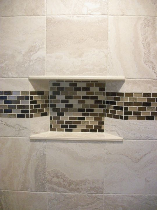 Inset tiled niche with mitered sides