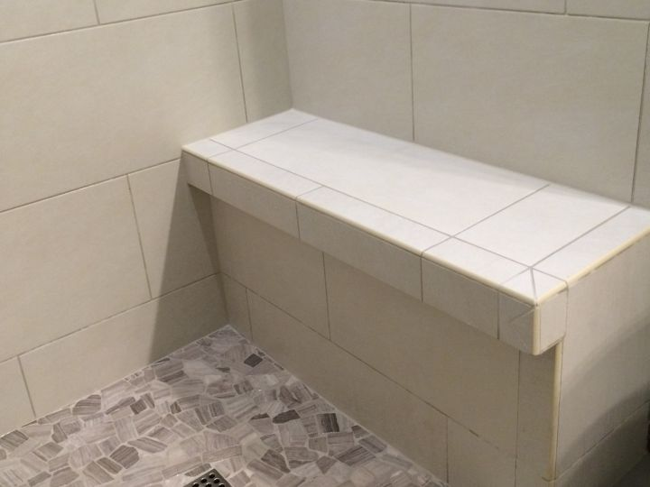 Tile Bench With Ledge Against One Wall