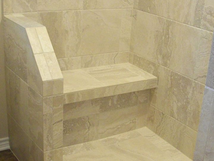 tile seat with ledge and half wall