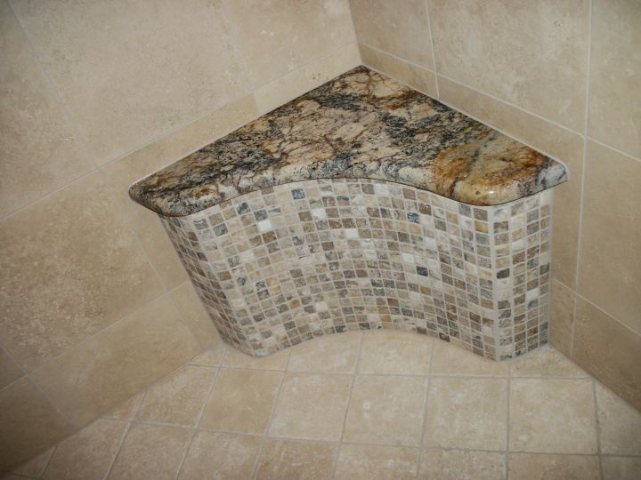 Radius tile bench with mosaic front and granite top