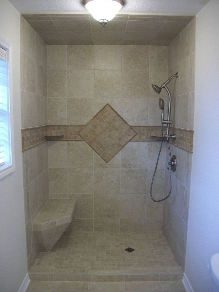 Beau Porcelain Tile Shower With Single Accent Tile Diamond And Color Band