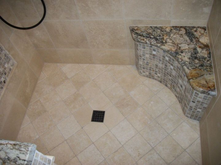 Onyx Mosaic And Granite Shower Seat With Travertine Tile Shower Floor
