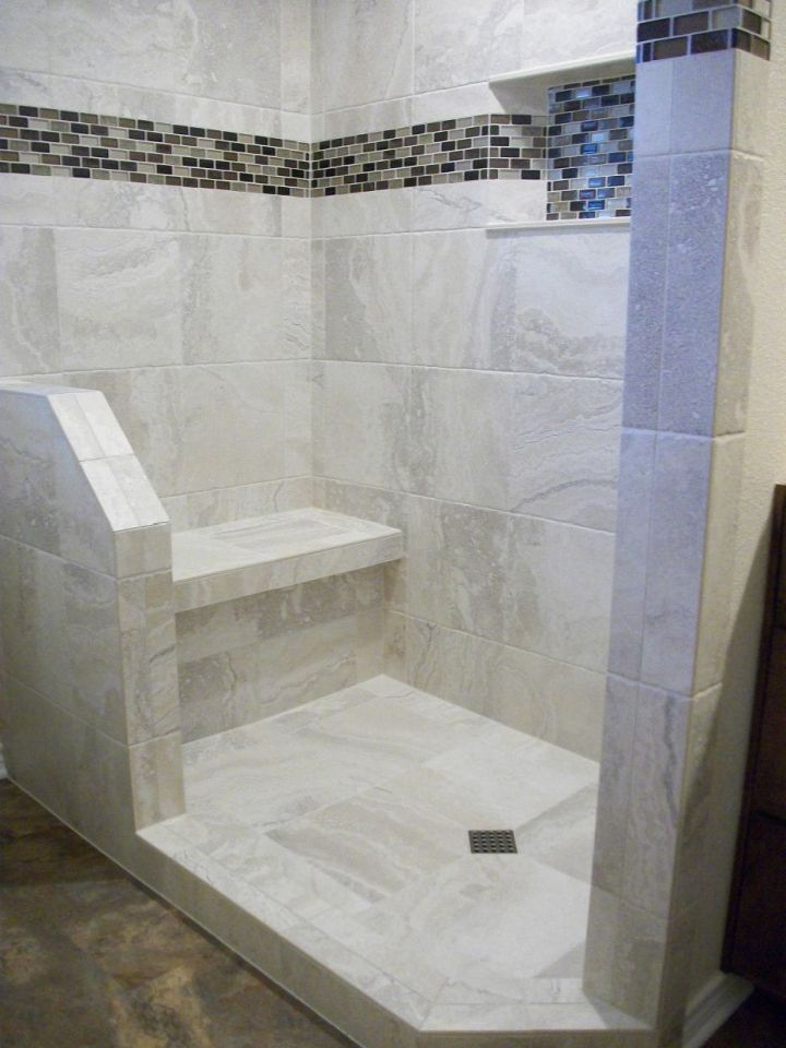 White Porcelain Tile Shower With Bench And Angled Curb Half Wall