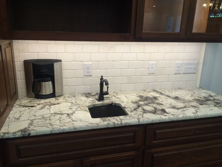 White Travertine Kitchen Backsplash N Koehn Tile El