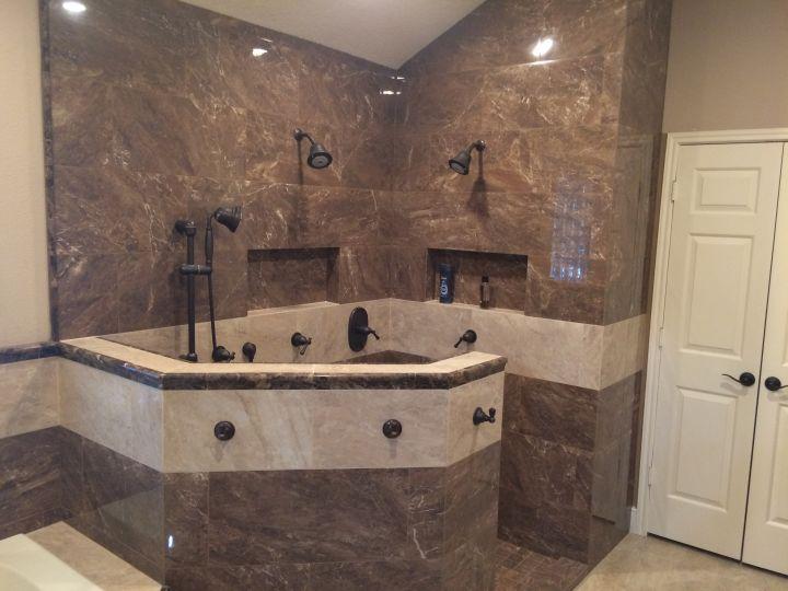 Emperador Marble Tile Shower And Tub